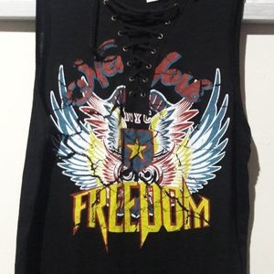 New York Freedom Eagle Rebel Tee Lace Front -NEW